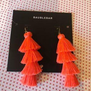 BAUBLEBAR- neon coral tassel earrings
